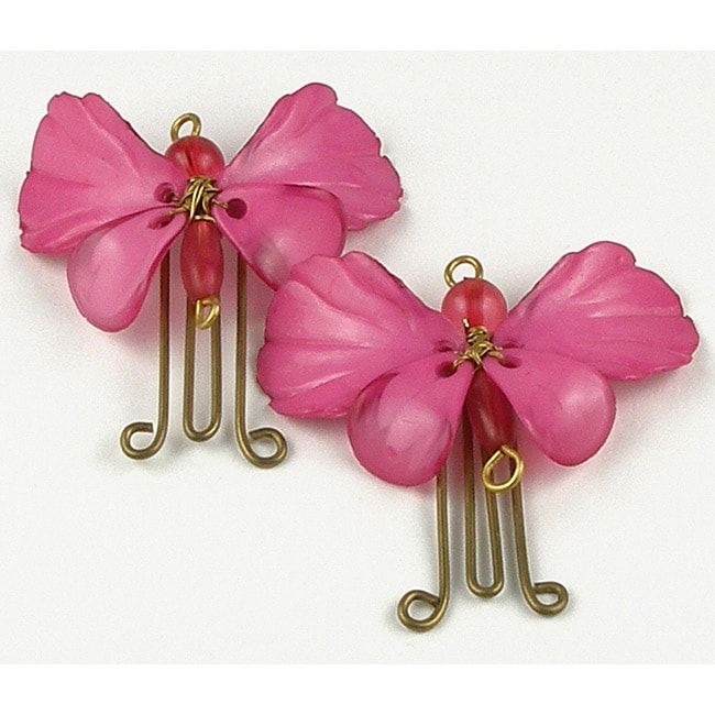 Set of 2 Brass and Glass Hot Pink Butterfly Paperclips (India)