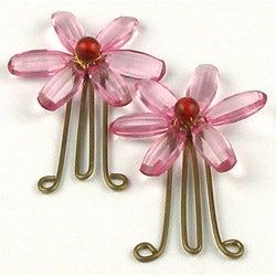Set of 2 Brass and Pink Daisy Flower Paperclips (India)