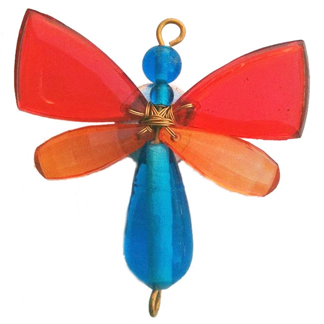 Set of 2 Beaded Red/ Blue Butterfly Magnets (India)
