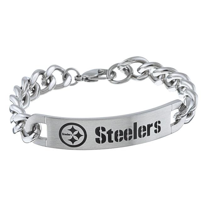 Stainless Steel Pittsburgh Steelers Link Bracelet