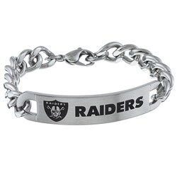 Stainless Steel Oakland Raiders Link Bracelet