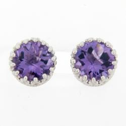 Meredith Leigh Sterling Silver Crown Amethyst Stud Earrings