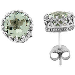 Meredith Leigh Sterling Silver Crown-set Green Amethyst Stud Earrings