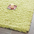Hand-woven Bliss Lime Green Shag Rug (7' Square)