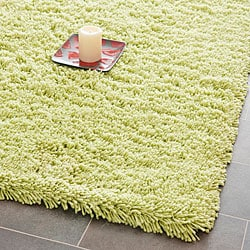 Hand-woven Bliss Lime Green Shag Rug (8'6 x 11'6)
