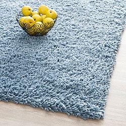 Hand-woven Bliss Light Blue Shag Rug (3' x 5')
