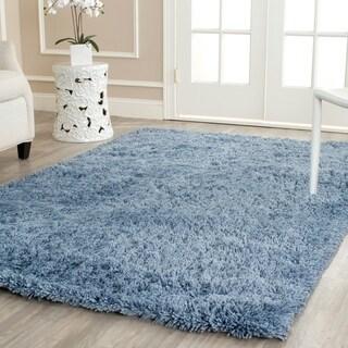 Hand-woven Bliss Light Blue Shag Rug (4' x 6')