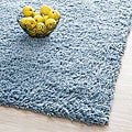 Hand-woven Bliss Light Blue Shag Rug (5' x 8')