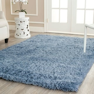 Safavieh Hand-woven Bliss Light Blue Shag Rug (7'6 x 9'6)