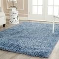 Hand-woven Bliss Light Blue Shag Rug (8'6 x 11'6)
