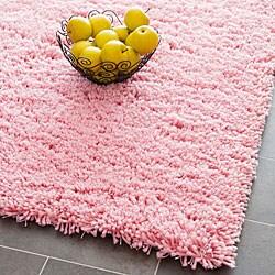 Hand-woven Bliss Pink Shag Runner (2'6 x 4')