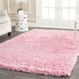 Hand-woven Bliss Pink Shag Rug (5' x 8')