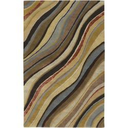 Hand-tufted Contemporary Multi Colored Striped Painterly New Zealand Wool Abstract Rug (8' x 11')