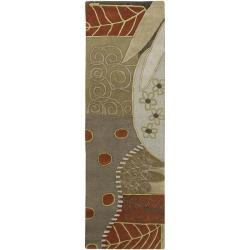 Hand-tufted Contemporary Grey Painterly Wool Abstract Rug (2'6 x 8')