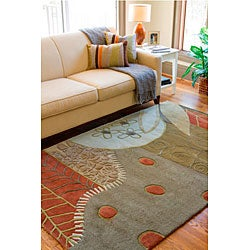 Hand-tufted Contemporary Grey Painterly Wool Abstract Rug (3'3 x 5'3)