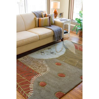 Hand-tufted Contemporary Grey Painterly Wool Abstract Rug (5' x 8')