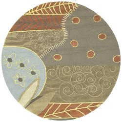 Hand-tufted Contemporary Grey Painterly Wool Abstract Rug (8' Round)
