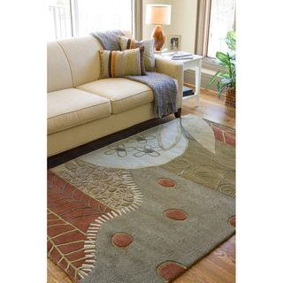 Hand-tufted Contemporary Moss Green Painterly Wool Abstract Rug (9' x 13')