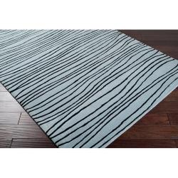 Hand-tufted Blue/Black Stripe Painterly Wool Rug (5' x 8')