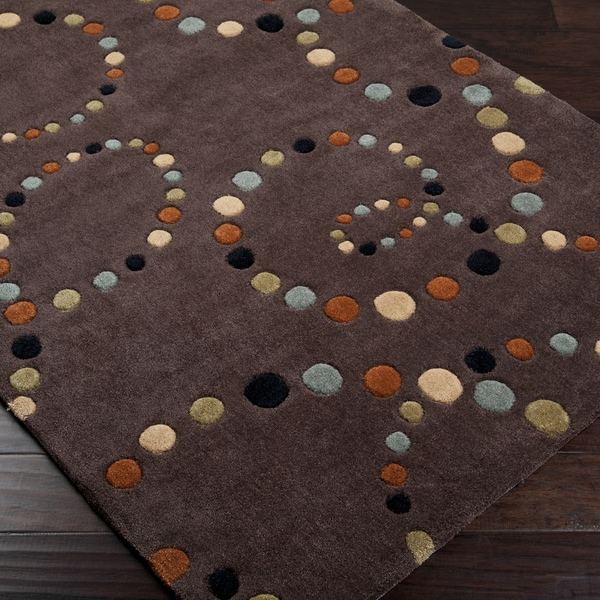 Hand-tufted Contemporary Retro Chic Brown Brown Abstract Rug (3'6 x 5'6)