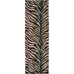 Hand-tufted Brown/Blue Zebra Animal Print Retro Chic Rug (2'6 x 8')