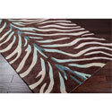 Hand-tufted Brown/Blue Zebra Animal Print Retro Chic Rug (3'6 x 5'6)