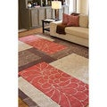 Hand-tufted Retro Chic Brown Floral Squares Rug (3'6 x 5'6)