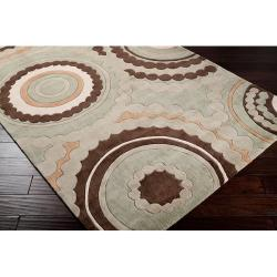 Hand-tufted Contemporary Retro Chic Green Geometric Circles Abstract Rug (2'6 x 8')