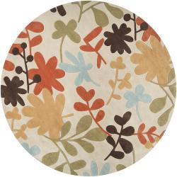Hand-tufted Retro Chic Ivory Rug (8' Round)