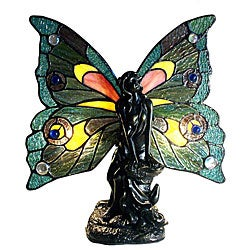 Tiffany-style Bronze Fairy Accent Table Lamp