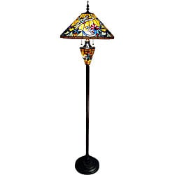 Tiffany-style Dragonfly Double Lit Bronze Finish Floor Lamp