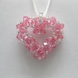 Sterling Silver Bead-woven Light Rose Crystal Open Heart Necklace
