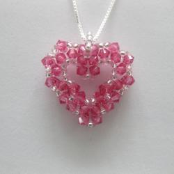Sterling Silver Bead-woven Rose Crystal Open Heart Necklace