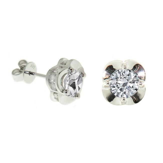 14k White Gold 2ct TDW Diamond Crown Earrings (H-I, I2-I3)