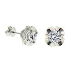 14k White Gold 2ct TDW Diamond Crown Earrings (H-I, I2-I3)