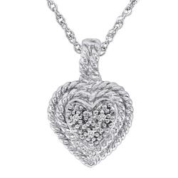 Sterling Silver Diamond Accent Rope Heart Fashion Necklace