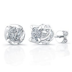 14k White Gold 1 1/2ct TDW Diamond Crown Earrings (H-I, I2-I3)