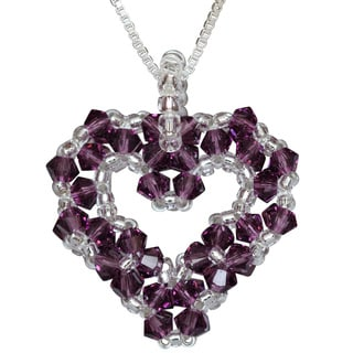 Silver Bead-woven Amethyst Purple Crystal Open Heart Necklace