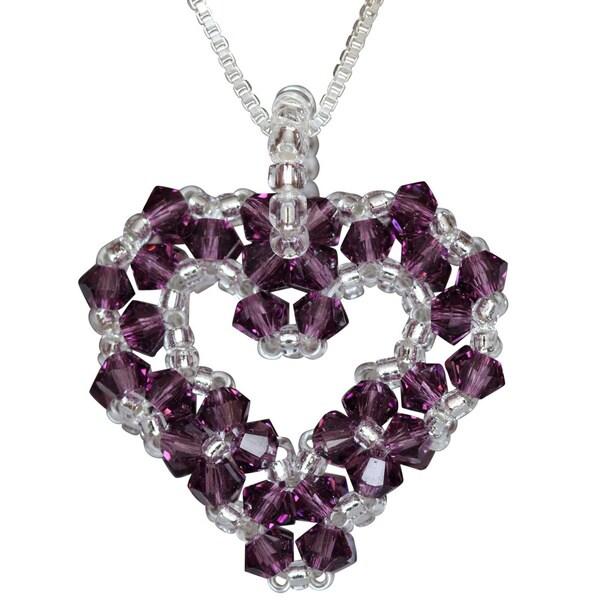 Silver Bead-woven Amethyst Purple Crystal Open Heart Necklace