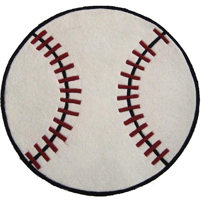 Baseball Rug: Hand-tufted Baseball-shaped Rug (3' Round)