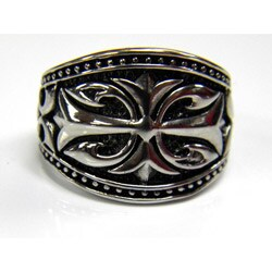 Men's Antiqued Stainless-Steel Gothic Cross Ring