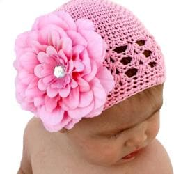 Headbandz Crocheted Baby and Toddler Pink Kufi Hat with Flower
