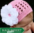"Headbandz Crocheted Baby and Toddler Pink/White Kufi Hat with 4.25"" Flower"