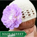 Headbandz Crocheted Baby and Toddler Cream/ Lavender Kufi Hat/ Flower