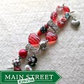 Beads with Bling Red Hot Hearts Beaded Watch Band