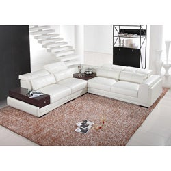 Italia Designs White Leather Sectional Sofa