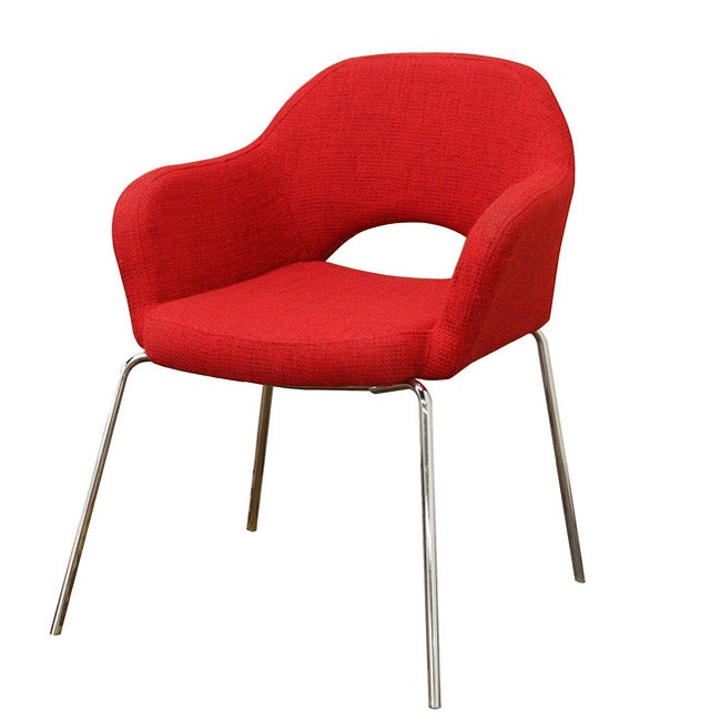 Mid Century Modern Red Twill Executive Arm Chair 13402012 S