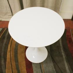 Immer White Wood and Steel Mid-Century End Table
