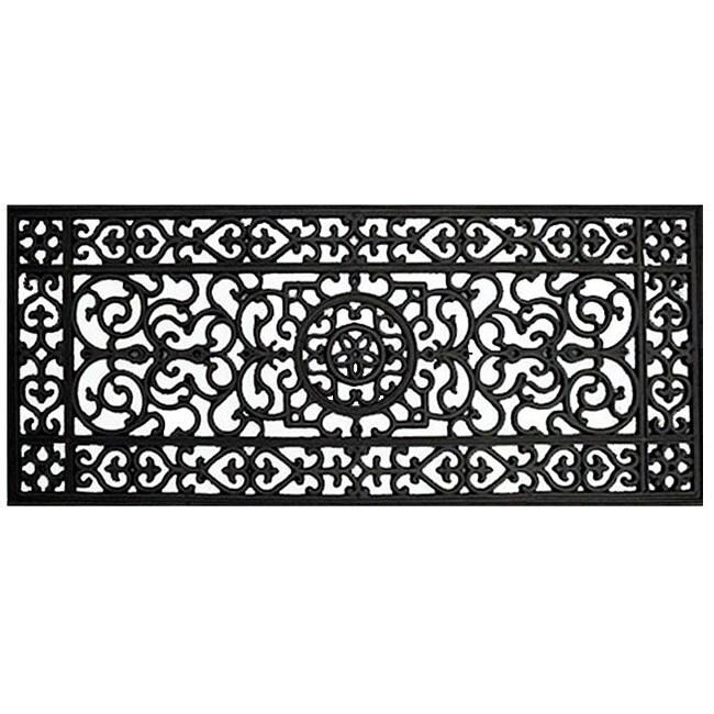 Renaissance Rectangle Square Grid Rubber Door Mat (17 x 41)
