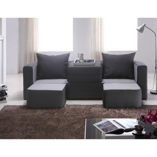 Furniture of America Duplex 3-seat Black/ Charcoal Versatile Foam Sofa
